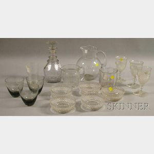Sixteen Pieces of Colorless Glass Tableware