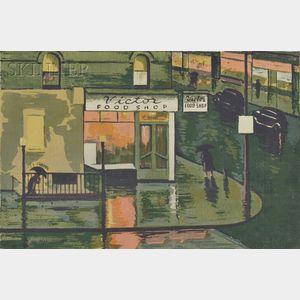 Max Arthur Cohn (American, 1903-1998)      Rainy Day (Victor Food Shop)