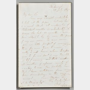 Faraday, Michael (1791-1867) Autograph Letter Signed, Edinburgh, 28 July 1847 [or 1867].
