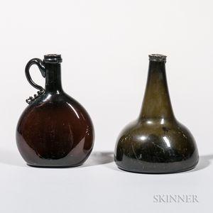 Two Blown Glass Bottles