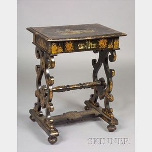 Victorian Gilt Decorated and Mother-of-Pearl Inlaid  Black Lacquer Paper Mache Work