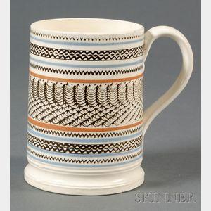 Mochaware Mug with Engine-turned Design