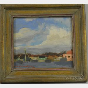 American School, 20th Century      Coastal View Oil Sketch