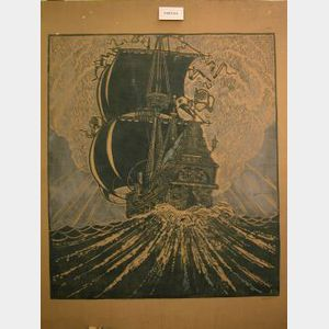 Two Arts & Crafts Gilbert Fletcher Screened Sailing Ship Textile Panels.