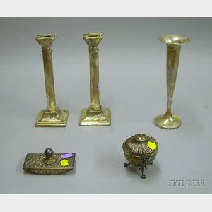 Five Sterling Silver and Silver Plated Table and Desk Items