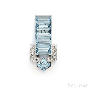 Platinum, Aquamarine, and Diamond Clip Brooch, Cartier