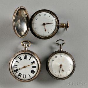 Three Silver English Verge Watches