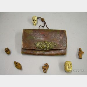 Asian Leather Tobacco Pouch and Five Assorted Netsuke