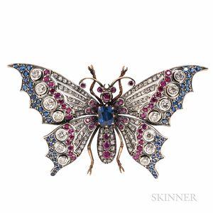 Large Gem-set Butterfly Brooch
