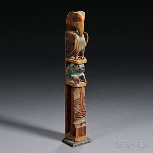 Northwest Coast Painted Model Totem Pole