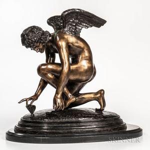 After Jean-Antoine Injalbert (French, 1845-1933)       Modern Bronze Figure of an Angel