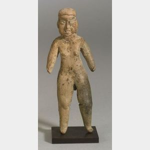 Pre-Columbian Standing Female Pottery Figure