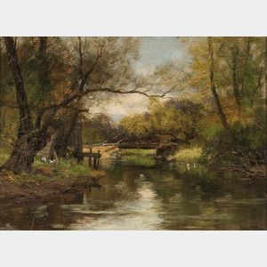 Charles Paul Gruppé (American, 1860-1940)      The Village Bridge