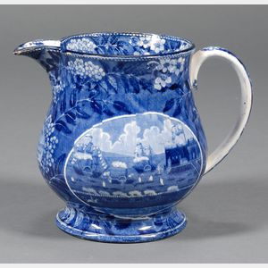 "Historic Transfer-decorated Staffordshire ""Landing of LaFayette"" Pitcher"