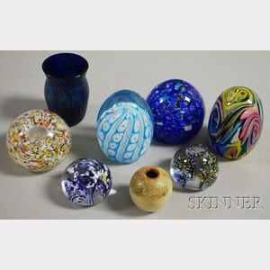Two Small Vases and Six Contemporary Art Glass Paperweights