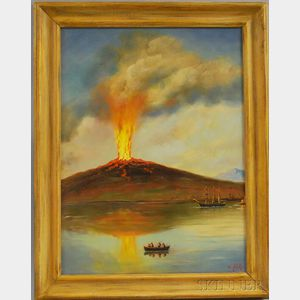 Alexander Nelke (American, 19th/20th Century)      Watching the Volcano Erupt