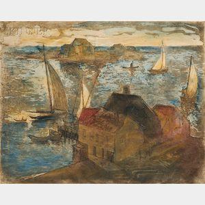 William Meyerowitz (American, 1887-1981)      A Cape Ann Harbor.