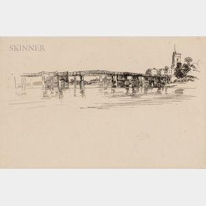 James Abbott McNeill Whistler (American, 1834-1903)      Little Putney Bridge