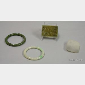 Two Jade Bracelet and Two Square Jade Asian Carvings.