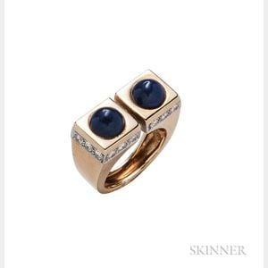 18kt Gold, Lapis, and Diamond Ring, Tiffany & Co.