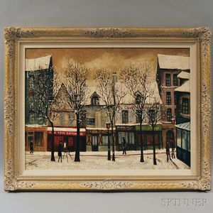 André Renoux (French, 1939-2002)      Montmartre Street Scene in Snow.