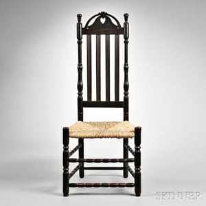 Brown-painted Heart and Crown Side Chair
