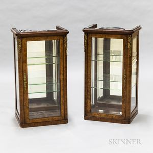 Pair of French-style Gilt-mounted Hanging Display Cabinets