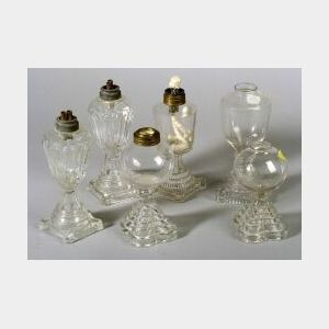 Six Colorless Blown and Pressed Glass Whale Oil Lamps