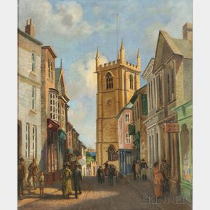 Charles H.H. Burleigh (British, 1875-1956)    Town Street View with Church Tower