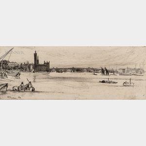 James Abbott McNeill Whistler (American, 1834-1903)      Old Westminster Bridge