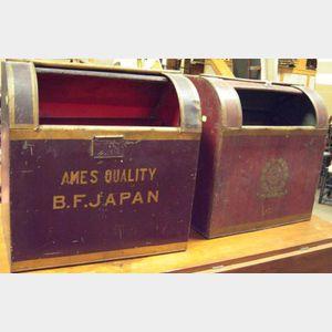 Two Painted Tin Retailer's Tea Bins