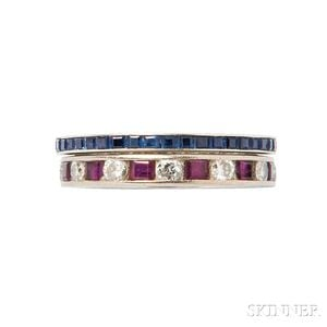 Two 14kt White Gold Gem-set Eternity Bands