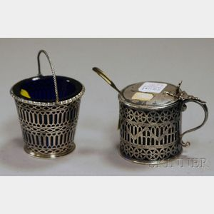 Two Small Reticulated English Silver Cobalt Glass-lined Table Articles