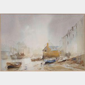 Claude Kitto (British, 1913-2004)      Coastal Village Scene, Probably Cornwall