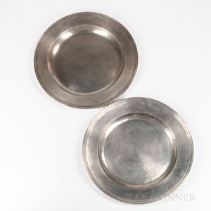 Two Large Early English Pewter Chargers