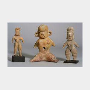 Three Pre-Columbian Female Pottery Figures