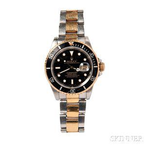"""Gentleman's Stainless Steel and Gold """"Submariner"""" Wristwatch, Rolex"""