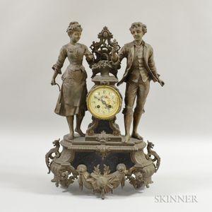 White Metal Figural Mantel Clock