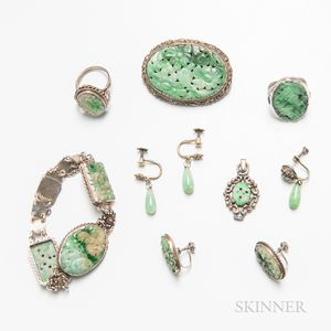 Group of Chinese Carved Jadeite and Silver Jewelry