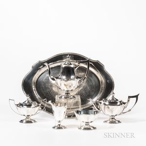Gorham Sterling Silver Five-piece Plymouth Pattern Tea and Coffee Service with Tray