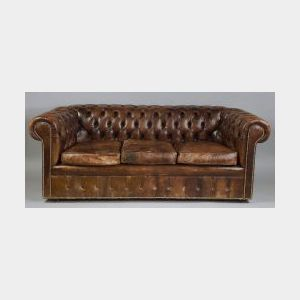 """Brown Tufted Leather """"Chesterfield"""" Sofa"""