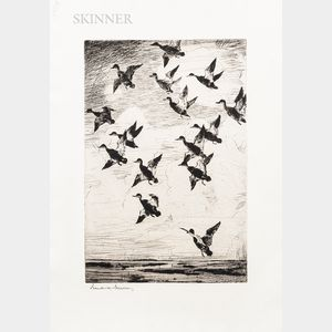 Frank Weston Benson (American, 1862-1951)      Black Ducks Towering