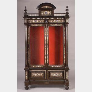 Italian Renaissance Revival Ivory and Hardstone Inset Ebonized Library Cabinet