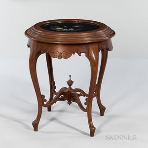 Victorian Walnut Side Table with Pietra Dura Top