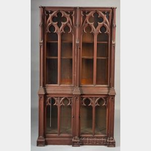 English Pugin Gothic Revival Library Cabinet