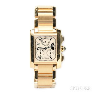 "18kt Gold ""Tank Francaise"" Chronograph Wristwatch, Cartier"