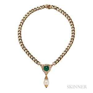 18kt Gold, Emerald, and Diamond Necklace