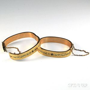 Pair of Victorian Gold-filled and Enamel Child's Bracelets