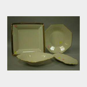 Four Lenox Gilt Porcelain Trays and Platters.