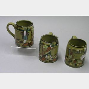 "Two Buffalo Pottery Deldare Ware ""Ye Lion Inn"" Mugs and an ""At the Three Pigeons""   Mug"